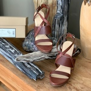 Cole Haan saddle color leather strap ankle wedge.